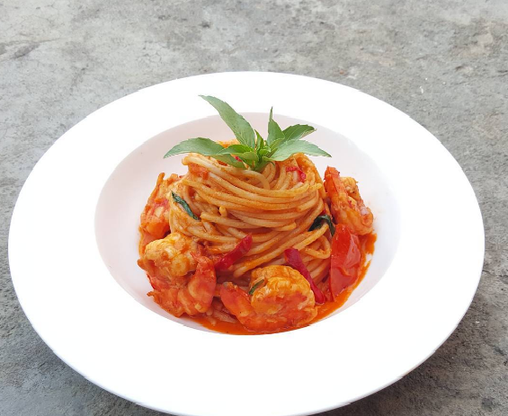 Prawn Pasta in red sauce made with fresh local tomatoes