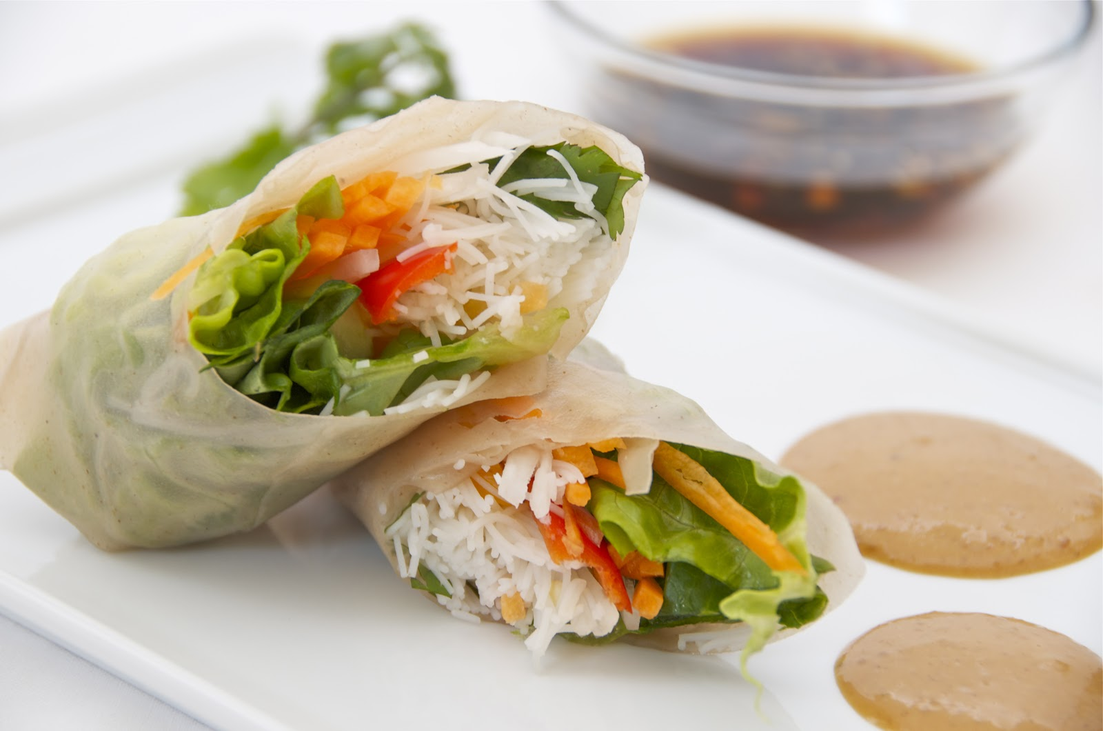 Fresh multicoloured vegetable spring rolls